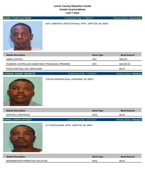 Updated Nov  6 - Mugshots of people arrested in Lenoir County