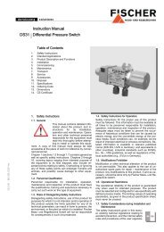 Instruction Manual DS31 Differential Pressure Switch - FISCHER Mess