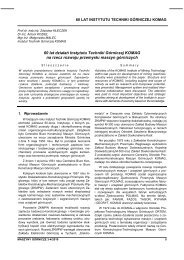 MASZYNY GÓRNICZE 3 i 4/2010 - Instytut Techniki Górniczej KOMAG
