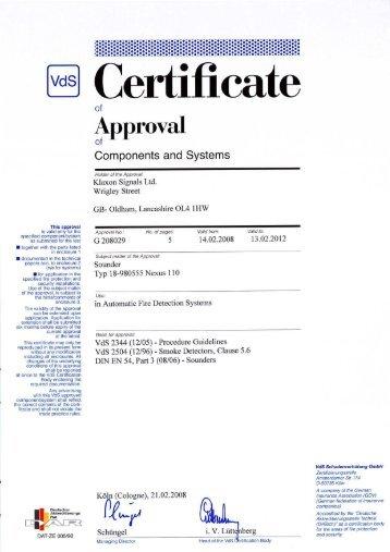 Nexus 110 Xenon VdS Certficate - Klaxon Signals Ltd.