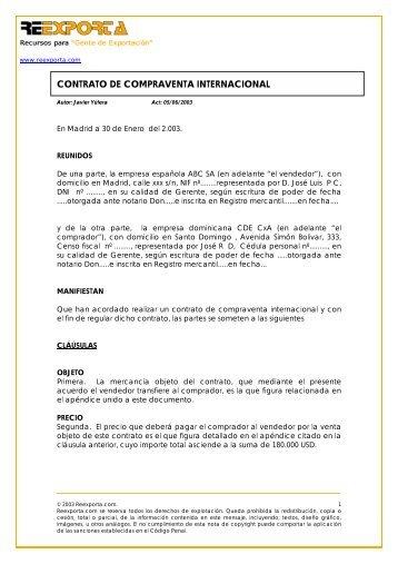 CONTRATO DE COMPRAVENTA INTERNACIONAL - Comercio ...