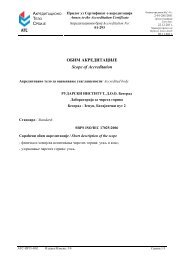 ОБИМ АКРЕДИТАЦИЈЕ Scope of Accreditation