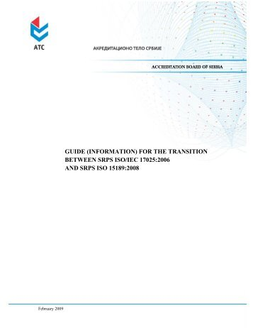 Guide (information) for the transition between SRPS ISO/IEC 17025 ...
