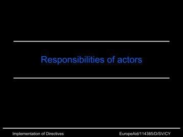 Responsibilities of actors