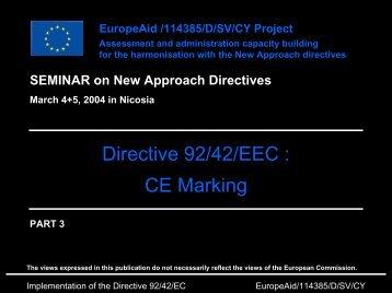 Directive 92/42/EEC : CE Marking
