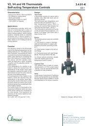 V2, V4 and V8 Thermostats self-acting temperature controls, clorius ...