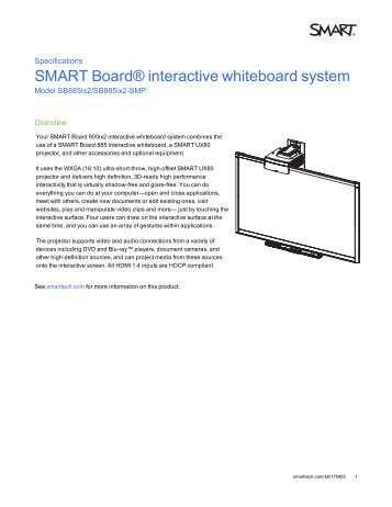 smart board 885ix interactive whiteboard system intervideo srl rh yumpu com