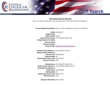 CCR Detail Search Results - The Chariot Group, Inc