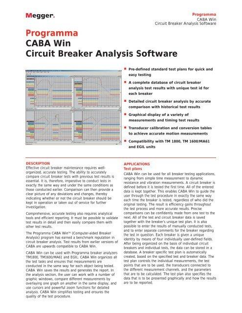 Programma CABA Win Circuit Breaker Analysis Software - Surgetek