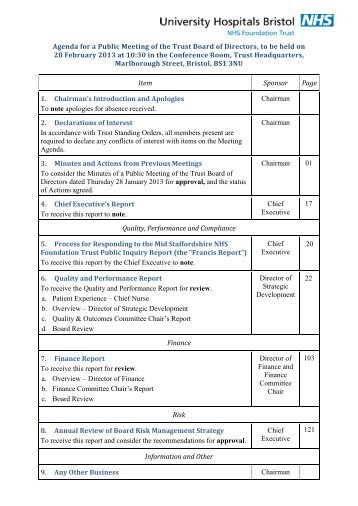 Agenda for a Public Meeting of the Trust Board of Directors, to be ...