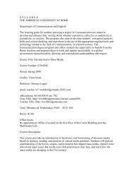 SYLLABUS THE AMERICAN UNIVERSITY OF ROME Department of ...