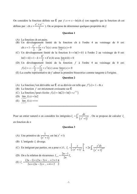 Mathématiques - Concours ENSEA