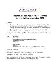 Programme des Assises Européennes de la télévision ... - MediaClub