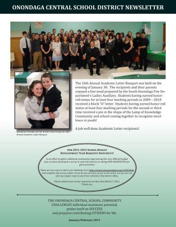 January/February 2011 Newsletter - Onondaga Central Schools