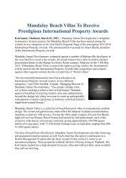 Mandalay Beach Villas To Receive Prestigious International Property Awards