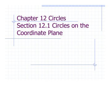 Chapter 12 Circles Section 12.1 Circles on the Coordinate Plane