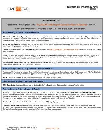 Experimental Application Form 2012-2013 - Canada Media Fund