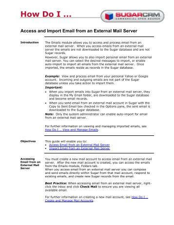 How Do I ... Access and Import Email from an External ... - SugarCRM