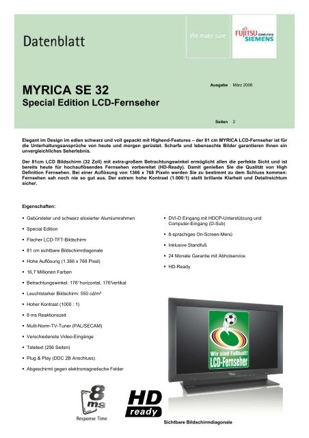 MYRICA SE 32 Special Edition LCD-Fernseher - produktinfo.conrad ...