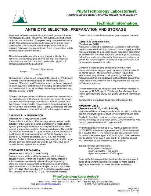 Antimicrobials for Plant Tissue Culture - PhytoTechnology