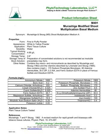 PhytoTechnology Laboratories, LLC™ Product Information Sheet ...