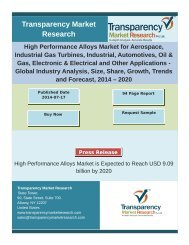 High Performance Alloys Market for Aerospace, Industrial Gas Turbines, Industrial, Automotives, Oil & Gas, Electronic & Electrical and Other Applications - Global Industry Analysis, Size, Share, Growth, Trends and Forecast, 2014 – 2020