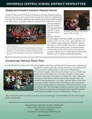 March-April 2011 Newsletter - Onondaga Central Schools - cnyric