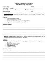 Pre-Observation Worksheet 2010