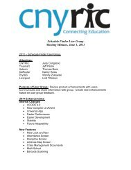 Schedule Finder User Group Meeting Minutes, June 1, 2011 - cnyric