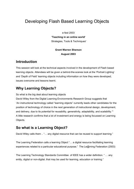 Developing Flash Based Learning Objects - Shersonmedia