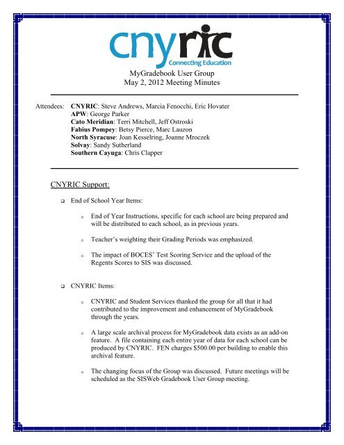 MGB User Group Meeting Minutes 05/02/12 - cnyric