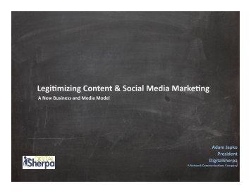 Legi+mizing Content & Social Media Marke+ng - Niche Digital ...