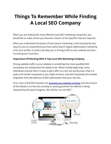 Things To Remember While Finding A Local SEO Company