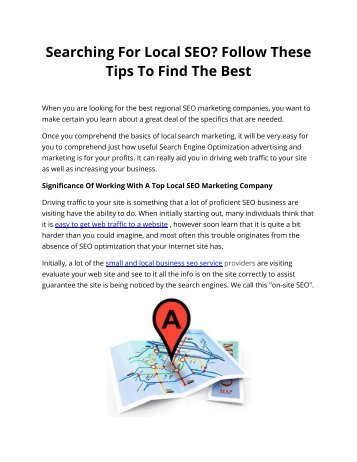 Searching For Local SEO? Follow These Tips To Find The Best