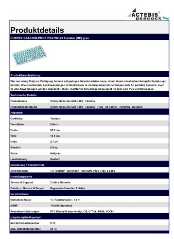 CHERRY G84-4100LPMDE PS/2 Win95 Tastatur (DE) grau