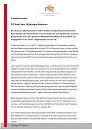 FIZ feiert sein 10-jähriges Bestehen - Deutsche Standards