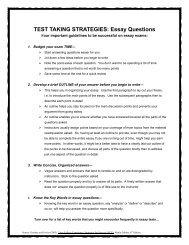 TEST TAKING STRATEGIES: Essay Questions