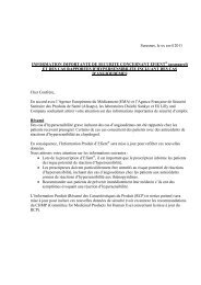 Information importante de securite concernant Efient ... - ANSM