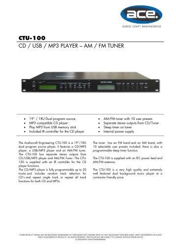 ctu-100 cd / usb / mp3 player – am / fm tuner - Visono Media AB