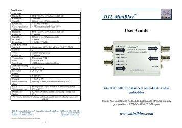 4461DU SDI unbalanced AES-EBU audio ... - Visono Media AB