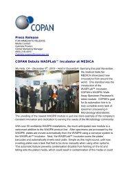 Press Release COPAN Debuts WASPLab™ Incubator ... - Copan Italia
