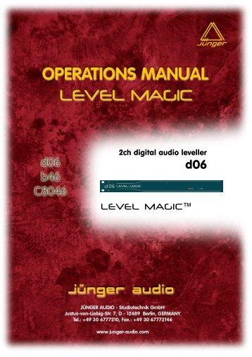 Jünger Audio D06 Manual - PDF - Aspen Media.