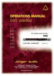 Jünger Audio B46 Manual - Aspen Media.