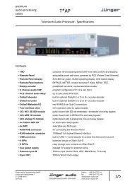 Jünger Audio T*AP Data Sheet - PDF - Aspen Media.