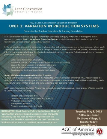 unit 1: variation in production systems - Builders Association