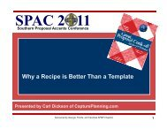 Why a Recipe is Better Than a Template - SPAC