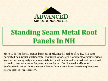 Standing Seam Metal Roof Panels In NH