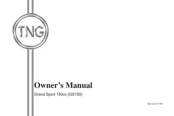 Owner's Manual - TNG Motor Scooters