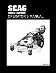 OPERATOR'S MANUAL - Scag Power Equipment