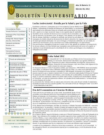 BOLETÍN UNIVERSITARIO - Instituciones - Infomed